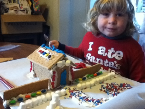 Jaryth and I build a graham cracker house